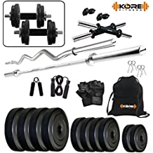 "Kore PVC Combo 2-SL (8 Kg - 20 Kg) Home Gym Kit with one 5 Ft Plain + One 3 Ft Curl + 2 x 14"" Dumbbell Rods with Gym Accessories"