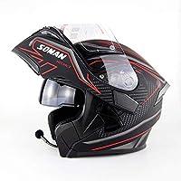 Motocicletta Modulare Casco Cuffia Auricolare Bluetooth qualità del Suono  Stereo Sfoderabile Casco con Corna E Lenti 2ff2932b5690