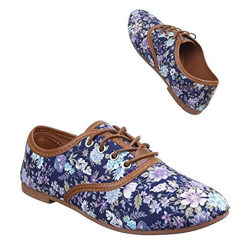 Damen Schuhe, C27-20-1, HALBSCHUHE SCHNÜRER Blau Multi