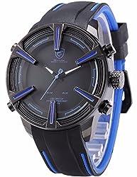 ++CANALOHA:)++ Dogfish SHARK Black Silicone Band Sport LED Analog Dual Movement Gift Watch