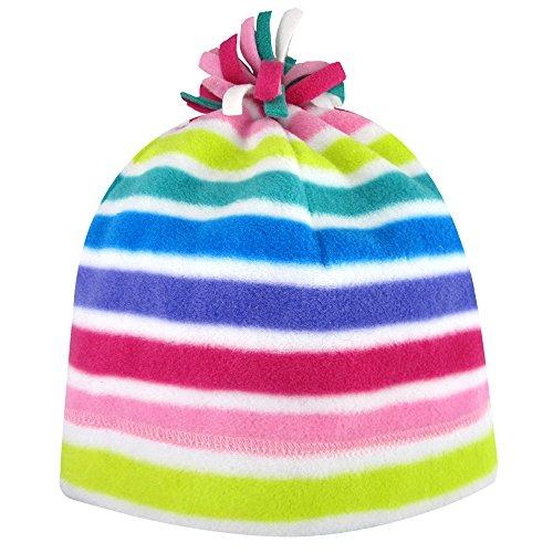 Iglus Mädchen Microfleece Beanie mit Pom, Mädchen, Multi-Stripe, Medium/Large (7-16) (Stripe Pom Top)