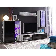 Moderne 4 Tlg TV Wohnwand Loco Mit LED Beleuchtung Schner Wohnzimmer