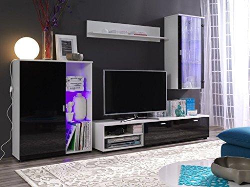 """Moderne 4-tlg TV Wohnwand """"Loco"""" mit LED Beleuchtung. Schöner Wohnzimmer-Schrank mit Vitrine in Schwarz hochglanz aus stabilem MDF Holz. Der Blickfang in jedem Wohnzimmer."""