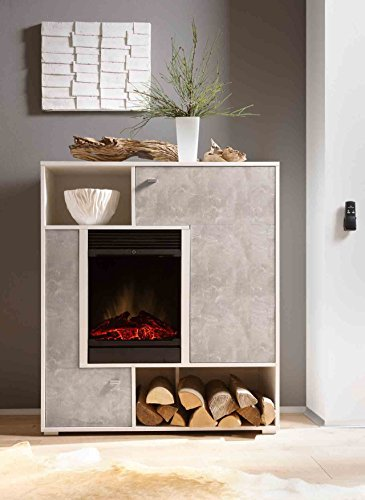 Kaminschrank, Stauraumelement, Kommode, Schrank, Regal, Kamineinsatz, Optiflame® Feuerbox, weiß, Beton-Optik - 2