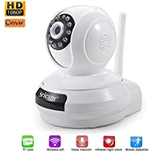 Cámara video vigilancia LESHP IP WiFi P2P Full HD 1080P 2,0 Megapixels (IR visión nocturna, detección de movimiento sonido, con Micrófono y altavoz desde Smartphone Android )