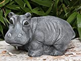 Statue en pierre hippopotame, gris ardoise, pierre reconstituée