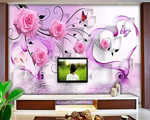 Apoart 3D Wandtapete Wandbild 3D Stereo Diamant Dream Rose Heart Hintergrundwandpapier Papel De Parede200Cmx140Cm (Heart Pj)