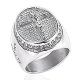 LANCHENEL Herren Europa und Amerikanische Diamant Retro Jesus Kreuz Titan Stahl Ringe