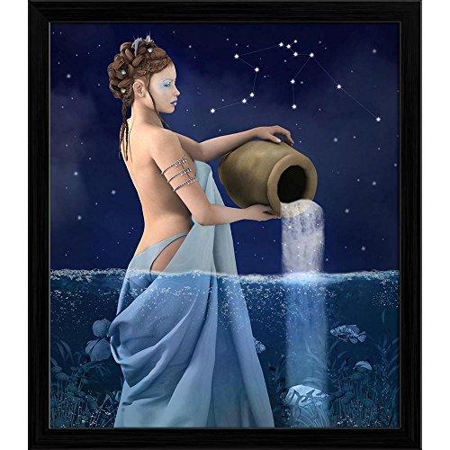 Pitaara Box Zodiac Series Aquarius D1 Canvas Painting Black Frame 20 X 23Inch - Serie Black Frame