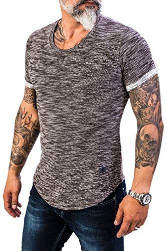 Rock Creek Herren Designer T-Shirt Rundhals Ausschnitt Kurzarm Oversize Shirt Sommershirt Slim Fit Sweatshirt H-151 XL Braun