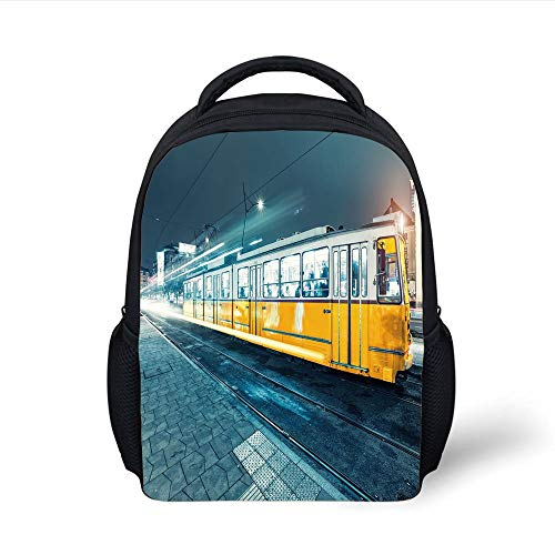 Kids School Backpack Yellow and Blue,Old Tram in The City Center Vintage Urban Train Station European Town Image,Slate Blue Plain Bookbag Travel Daypack