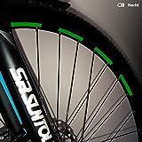Motoking Fahrrad-Reflektorenaufkleber mit Waben-Reflex-Optik - Grün - 26 Aufkleber im Set - Breite: 7 mm - reflektierende Felgenaufkleber für Trekkingbike-, Fahrradfelgen & mehr