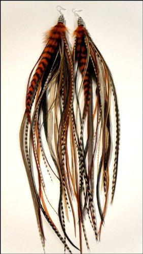 grizzly-extensions extravagante Boucles d'oreilles Nature & Orange \\