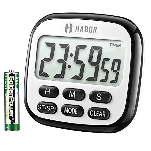 Habor Kurzzeitwecker 24 Stunden Countdown Timer Digital Großer LCD-Bildschirm Küchentimer Küchenuhr, Lauter Piepser, Kurzzeitmesser Küche Magnetisch Gegenständer, Digitaler zum Kochen Backen Sport