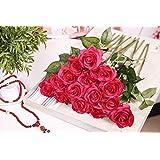 TININNA 5 pezzi rose artificiali rose mazzi per la festa decorazioni domestiche o Wedding Rosso