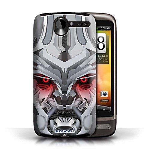 Kobalt® Imprimé Etui / Coque pour HTC Desire G7 / Opta-Bot Rose conception / Série Robots Mega-Bot Rouge