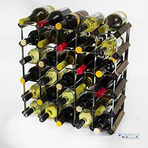 Legno Classic 30 bottiglia in rovere tinto scuro e metallo zincato vino rack autoassemblaggio