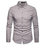 Mode gestreifte Knopf Männer Lange Beiläufige Einfache Revers Langarm-Shirt(Khaki,2XL)