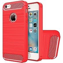 Funda iPhone SE, HICASER Durabilidad Flexible TPU Case, Carbon Fiber Antideslizante Gota Protección Rugged Armor Defensivo Carcasa para iPhone SE / 5s / 5 Rojo