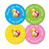 Thank You For Coming To My Party - 30mm diameter party stickers - 4 colours (48)