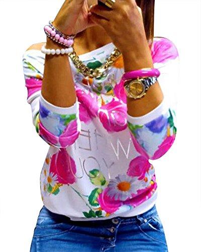 Femme Fleurs Impression Manche Longue Tops O-Collier En Vrac Décontractée Pull-Over Rouge