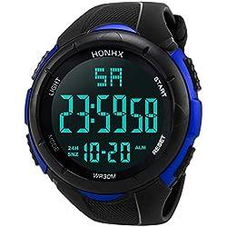 Montre Sports Militaires pour Les Hommes avec 5 ATM étanche Date d'Alarme LED Numérique Analogique Grand Cadran Silicone Bande (5.5 cm, Cercle de Cadran Bleu)