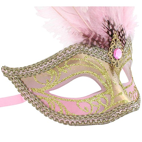 Rosa und Gold Sisi gefiederten venezianischen Masquerade ()
