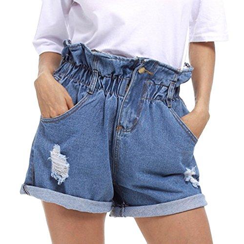 Dexinx pantaloncini di jeans elasticizzati a vita alta da donna pantaloni casual strappati pantaloni caldi strappati estivi azzurro xl