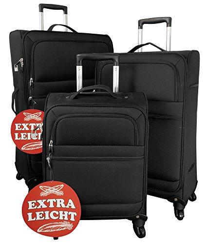 Kofferset 3tlg extraleicht Weichgepäck Farbe schwarz Nylongewebe Größen S M L Trendyshop365