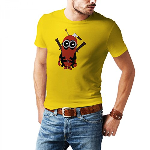 Fashionalarm Herren T-Shirt - Dead-Pool Min. Parodie | Fun Shirt mit lustigem Motiv für Film Fans, (Dead Anzug Pool)