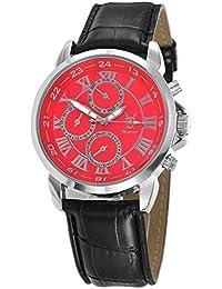 Reloj de Hombre, con Esfera Roja con Números Romanos y Multi-función Día-Fecha Día-Noche y Correa de Piel de Konigswerk AQ202574G