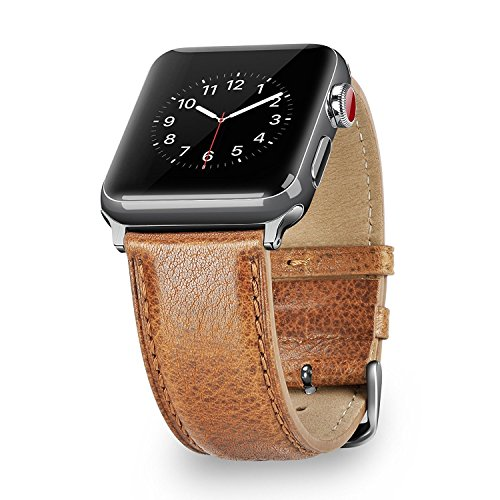 Benuo Genuino Pelle Cinturino di Apple Watch 42mm Sostituzione Cinturino di Ricambio per Apple Watch Series 3-42mm / Apple Watch Series 1-42mm/ Apple Watch Series 2-42mm/ Apple Watch Series NIKE+ 42mm (Marrone)