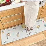 AZUO Haushalts Leder Wasserdichte Bodenmatte Fußpolster Kreative Haushalts-Cartoonstrip-Küche Nicht-Slip Oil Proof Matte,C,S