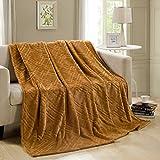 """Couvertures et plaids Throw Blankets anti-fade""""léger mais chaud"""" couvertures micro-pile doux moussant 100% polyester anti-rides ne s'efface pas (Couleur : Marron, taille : 200 * 230cm)"""