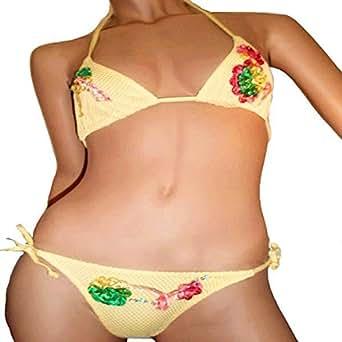 Ricamato floral applique bikini (UK10, Yellow)