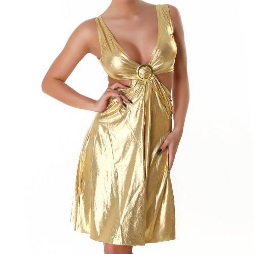 Robe en cuir col V robe de cocktail regarder wet look boucle Taille unique (36,38,40) - différentes couleurs Or