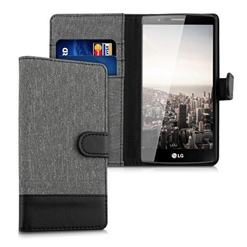 kwmobile LG G4 Hülle - Kunstleder Wallet Case für LG G4 mit Kartenfächern & Stand - Grau Schwarz