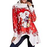 SEWORLD Frohe Weihnachten Weihnachtsmann Kapuzenpulli Damen Langarm Warmer Schneeflocke Gedruckt Tops Wasserfallausschnitt Sweatshirt Bluse(X3-rot3,EU-38/CN-L)