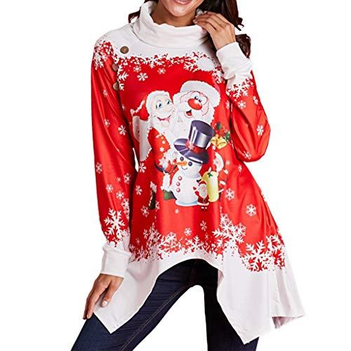 SEWORLD Frohe Weihnachten Weihnachtsmann Kapuzenpulli Damen Langarm Warmer Schneeflocke Gedruckt Tops Wasserfallausschnitt Sweatshirt Bluse(X3-rot3,EU-42/CN-2XL)