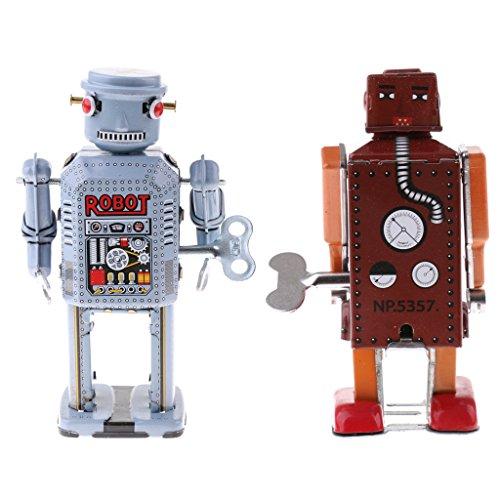 Baoblaze 2 Pedazos Vintage Robot Hecho a Mano Relojes Viento...