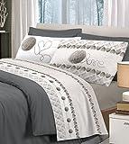 ANGEBOT von Frühjahr Doppelbett: Tagesdecke Sommer + Komplettes Bettwäsche aus Baumwolle–Love grau–Erneuert die ihre Schlafzimmer.