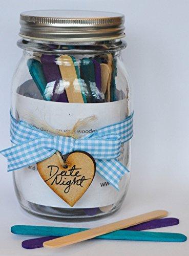 'Vase en Verre Date Night, Romantique et de Plaisir pour Elle et Lui, Bleu Ruban, avec barreaux en Bois en Bleu/Mauve/Couleur Naturelle