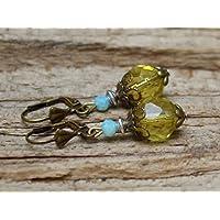 Vintage Ohrringe mit Glasperlen - khaki, hellblau & bronze