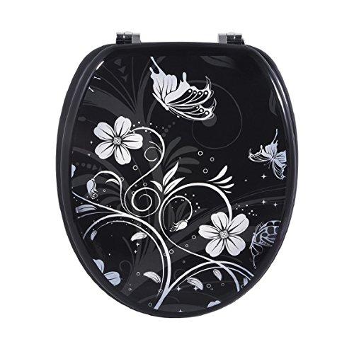 Carpemodo WC Sitz WC Deckel Klodeckel MDF robustem Holzkern Antibakteriell Scharniere verchromt Größe 43×36 cm edles Design Blumen