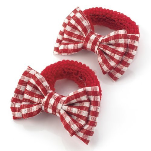 2 Girls Red Gingham Bow Hair Ponios/Bands AJ28134 by For ()