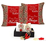 #7: TiedRibbons® Rakhi for Brother and Bhabhi Combo with Set of 2 Printed Cushions with Roli Chawal