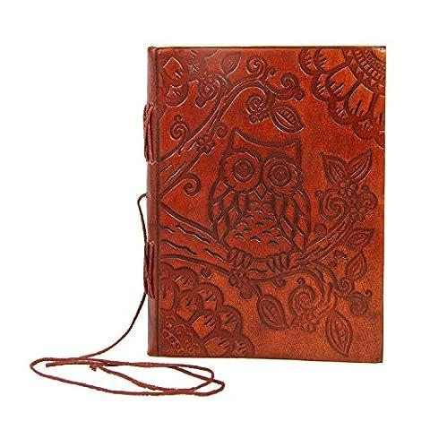 Geprägtes Leder blanko Tagebuch Persönliches tagebuch Eule Motive Notebook Travel Record Book (Personalisierte Leder Geschenke Für Ihn)