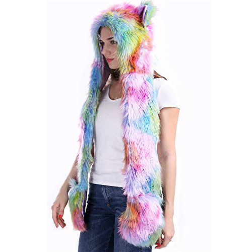 Unicorn-Rainbow-Rave-Spirit-Animal-Furry-Hoddie-Hat-Faux-Fur-3-In-1-Function