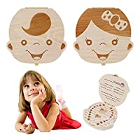 Baby Tooth Box - Wooden Kids Keepsake Organizer Gift for Baby Teeth, Cute Children Tooth Container with Tweezers to Keep The Childwood Memory (Girl)