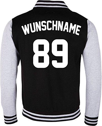 EZYshirt® Damen Herren Kinder College Jacke Athletic mit Wunschnamen und Wunschnummer | Baseball Jacke | Team-varsity-jacke